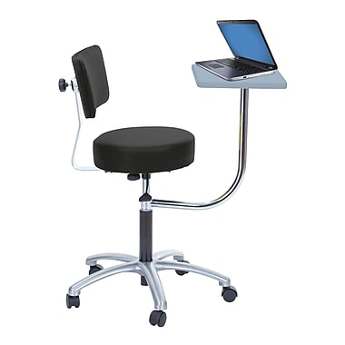 Brandt Laptop Adjustable Height and Backrest Revolving Stool with 360 Degree Rotating Desk, Black (14112)