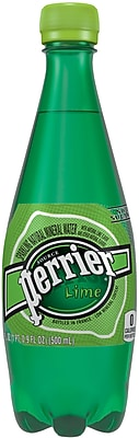 Perrier® Sparkling Natural Mineral Water Lime, 16.9 oz., Pack of 24 (12283034)
