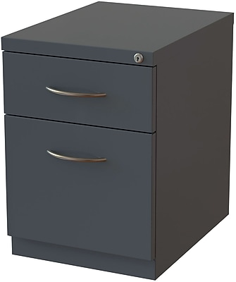 Lorell 2 Drawer Vertical File Cabinet, Mobile Pedestal, Charcoal, Letter, 20