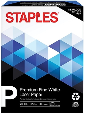 """Staples 30% Recycled 8.5"""" x 11"""" Multipurpose Paper, 32 lbs., 100 Brightness, 300/Pack (358C-WH-STP)"""