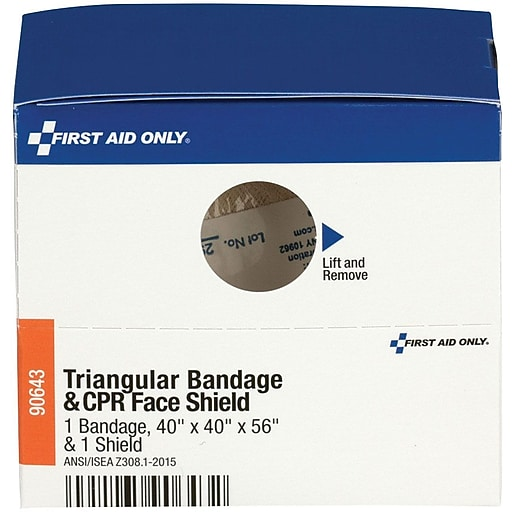 First Aid Only™ SmartCompliance Refill Triangular Bandage & CPR Face Shield, 1 Bandage & 1 Shield per Box (90643)