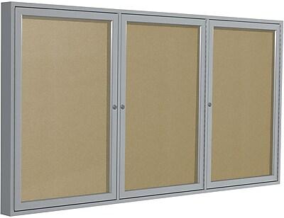 Ghent Outdoor/Indoor Enclosed Vinyl Bulletin Board Center, Satin Alum. Frame, Weather-Resistant, Caramel, 3-Door, 8'W x 4'H
