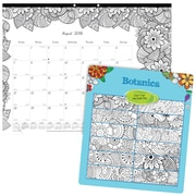 "Blueline®, Academic Monthly Coloring Desk Pad Calendar, 2017 Aug. - July, 22"" x 17"", DoodlePlan (CA2917311)"