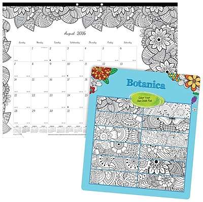 Blueline®, Academic Monthly Coloring Desk Pad Calendar, 2017 Aug. - July, 22