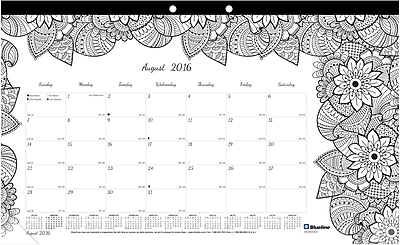 Blueline®, Academic Monthly Coloring Desk Pad Calendar, 2017 Aug. - July, 17.75