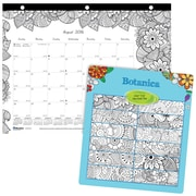 "Blueline®, Academic Monthly Coloring Desk Pad Calendar, 2017 Aug. - July, 11"" x 8.5"", DoodlePlan (CA2917211)"