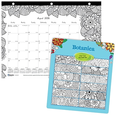 Blueline®, Academic Monthly Coloring Desk Pad Calendar, 2017 Aug. - July, 11