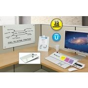 "Quartet Infinity™ Magnetic Glass Dry-Erase Cubicle Board, 30"" x 18"", White Surface, Frameless"