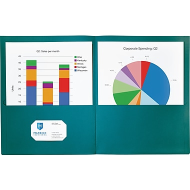 Staples® Twin-Pocket Portfolio, Teal, 10/Pack