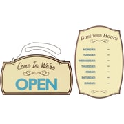 Boutique Open and Business Hours Signs 2 pack