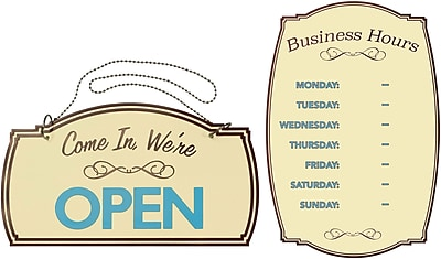 Cosco Boutique Open and Business Hours Signs, 2 Pack