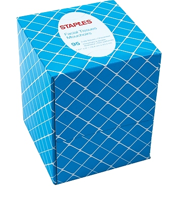 Staples® Cube Box Facial Tissues, 2-Ply, 95 Sheets/Box
