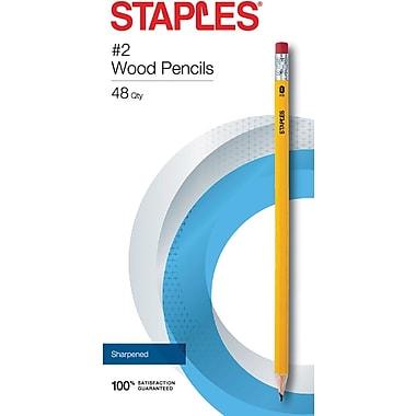 Staples® #2 Pre-sharpened Wood Pencils, Yellow, 48/pk (23744)