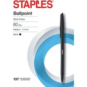STAPLES® BALLPOINT STICK PENS MED 1.0MM BLACK 60PK  (29250)