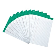 "Staples® 100% Recycled 8-1/2"" x 14"", White, Perforated Notepads, Wide Ruled, 12/Pack"