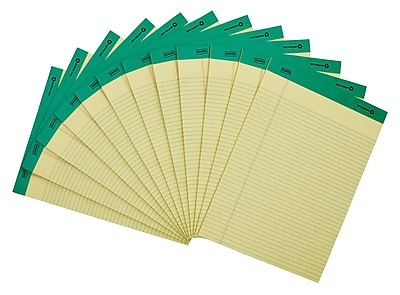 "Staples Notepads, 8.5"" x 11.75"", Narrow, Yellow, 50 Sheets/Pad, 12 Pads/Pack (21674STP)"