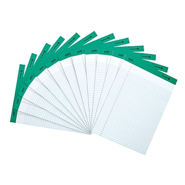 Staples 100% Recycled Perforated Notepads, White, 8 1/2