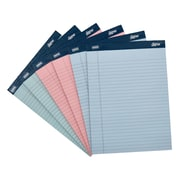 "Staples® Signa 8-1/2"" x 11-3/4"" (Letter-sized) Wide Ruled Notepads, 50 Assorted Pastel Sheets per pad, 6/Pack (18140STP)"