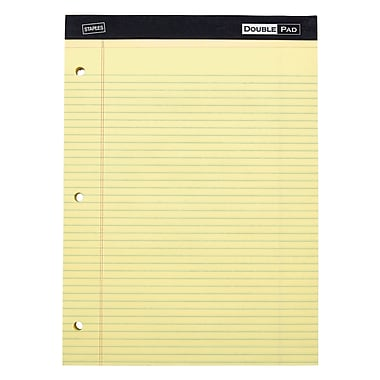 Staples Double Pad, Yellow, Wide Ruled with 3-Hole Punch, 6/Pack (18581)