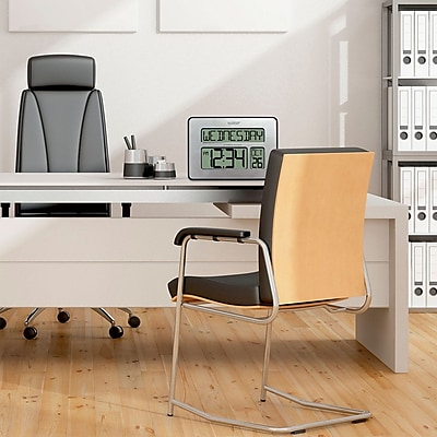 La Crosse Technology Atomic Full Calendar Silver Digital Clock with Extra Large Digits (513-1419-INT)