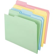 Staples® Colored Top-Tab File Folders, 3 Tab, Assorted Pastel, Letter Size, 100/Pack