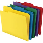Staples® Colored Top-Tab File Folders, 3 Tab, 5 Color Assortment, Letter Size, 100/Pack