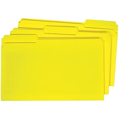 Staples® Colored Top-Tab File Folders, 3 Tab, Yellow, Legal Size, 100/Pack