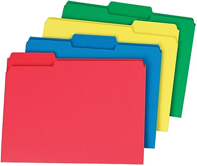 Staples® Colored Top-Tab File Folders, 3 Tab, Assorted Colors, Letter Size, 24/Pack