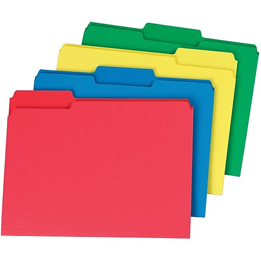 staples colored top tab file folders 3 tab assorted colors