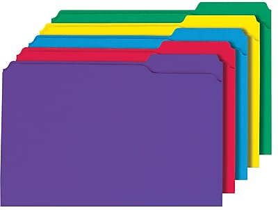 Staples Colored 3-Tab File Folders, Legal, Assorted Colors, 100/pack