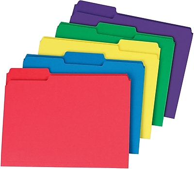 Staples® Interior File Folders, Letter, Assorted, 100/Box