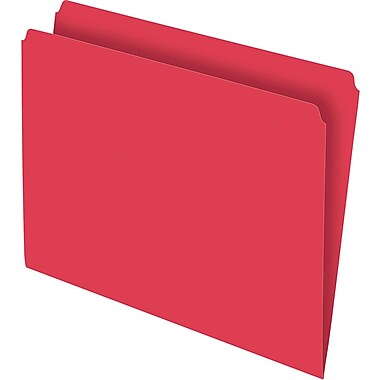 Staples® Colored Top-Tab File Folders, Single Tab, Red, Letter Size, 100/Pack