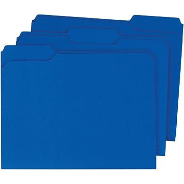 Staples® Colored Top-Tab File Folders, 3 Tab, Blue, Letter Size, 24/Pack