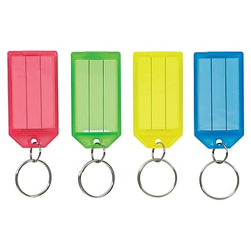 Pap-R Products Plastic Color-Coded Key Tags, Assorted Colors, 4/Pk (60011)