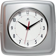 "Infinity Instruments 9""  Wall Clock, Square Retro Silver"