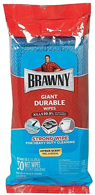 Brawny Industrial Disinfecting Cleaning Wipes, Citrus Scent, 30 Wipes/Pack