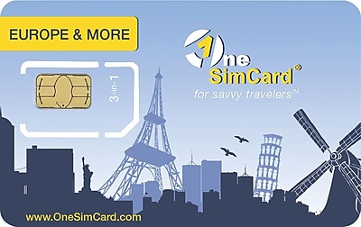 OneSimCard Europe & More International Roaming SIM card for Europe, USA, Canada & Australia. Works in Unlocked GSM devices.
