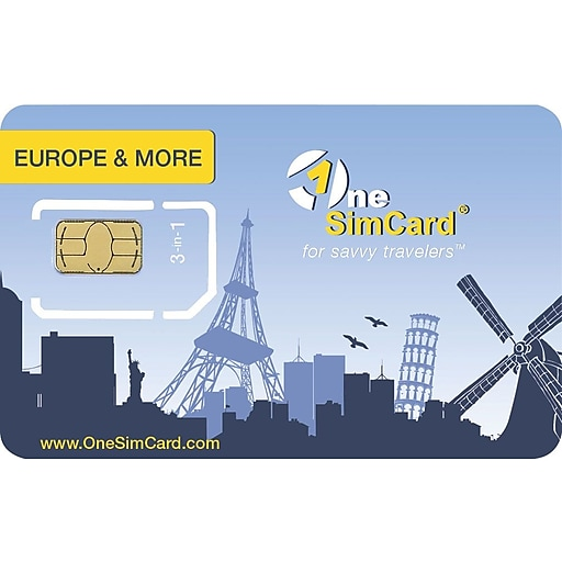 OneSimCard Europe & More International Roaming SIM card for Europe, USA,  Canada & Australia  Works in Unlocked GSM devices