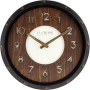 La Crosse Clock 404-3030 12 In Wall Clock with Matte Finish Frame and Wood Dial