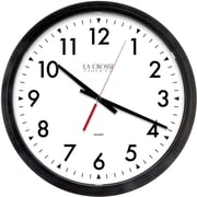 La Crosse Clock 14 Inch Commercial Analog Wall Clock, Black (404-2636)