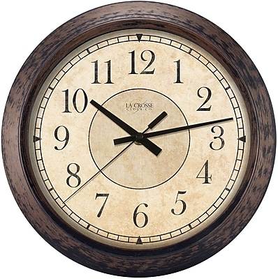 La Crosse Clock 14 Inch Round Brown Plastic Analog Wall Clock (404-2635)