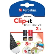Verbatim Clip-It 8GB USB 2.0 Flash Drive, 2 Pack (99156)