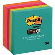"""Post-it® Super Sticky Notes, 3"""" x 3"""", Miami Collection, 5 Pads/Pack (654-5SSMIA)"""