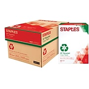 """Staples 30% Recycled Copy Paper 8.5"""" x 11"""" , 20 lbs., White, 5000 Sheets/Carton (112350/461757)"""