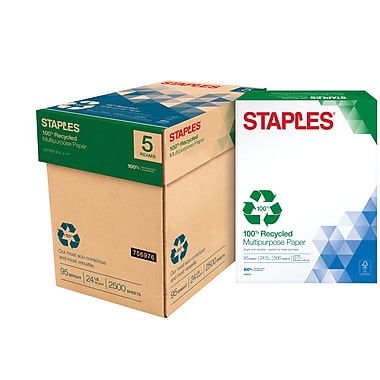 Staples® 100% Recycled Multipurpose Paper, 2,500/Case