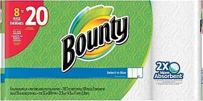 Bounty® Select-A-Size™ Paper Towel Rolls, White, 2-Ply, 158 Sheets/Roll, 8 Huge Rolls = 20 Regular Rolls