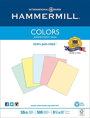 HammerMill® Fore® MP Pastel Paper, 24lb., Assorted, 8 1/2