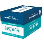 "Hammermill® Laser Print Office Paper, LEDGER-Size, 98/110+ US/Euro Brightness, 24 lb., 11""H x 17""W, 2,500 Sheets/Ct"