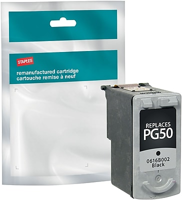 Staples® Remanufactured Inkjet Cartridge, Canon PG-50 (0616B002), Black