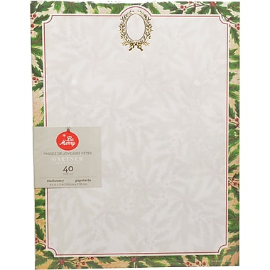 Gartner Studios, Holly Wreath with Foil Stationery, 8.5